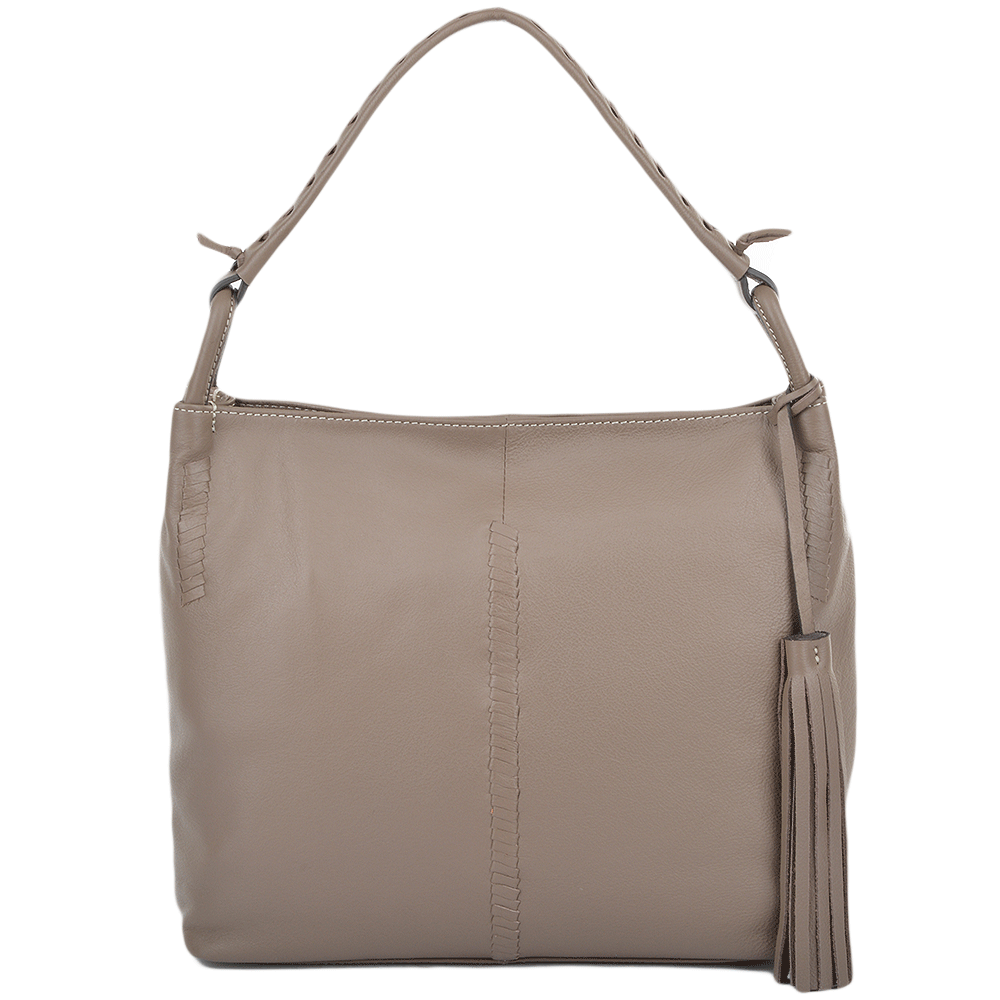 Womens Leather Hobo Shoulder Bag Mushroom : 61634