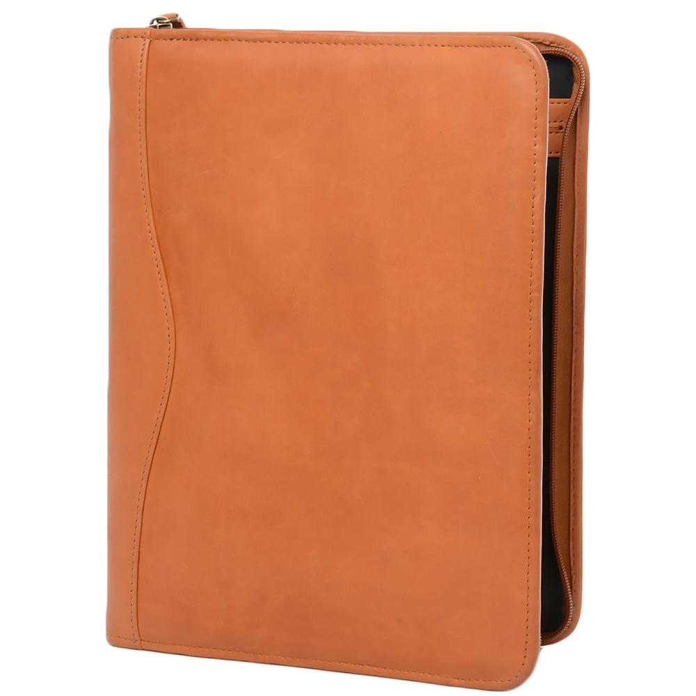 Leather Document Holder Tan Col A4 Sleeve Leather