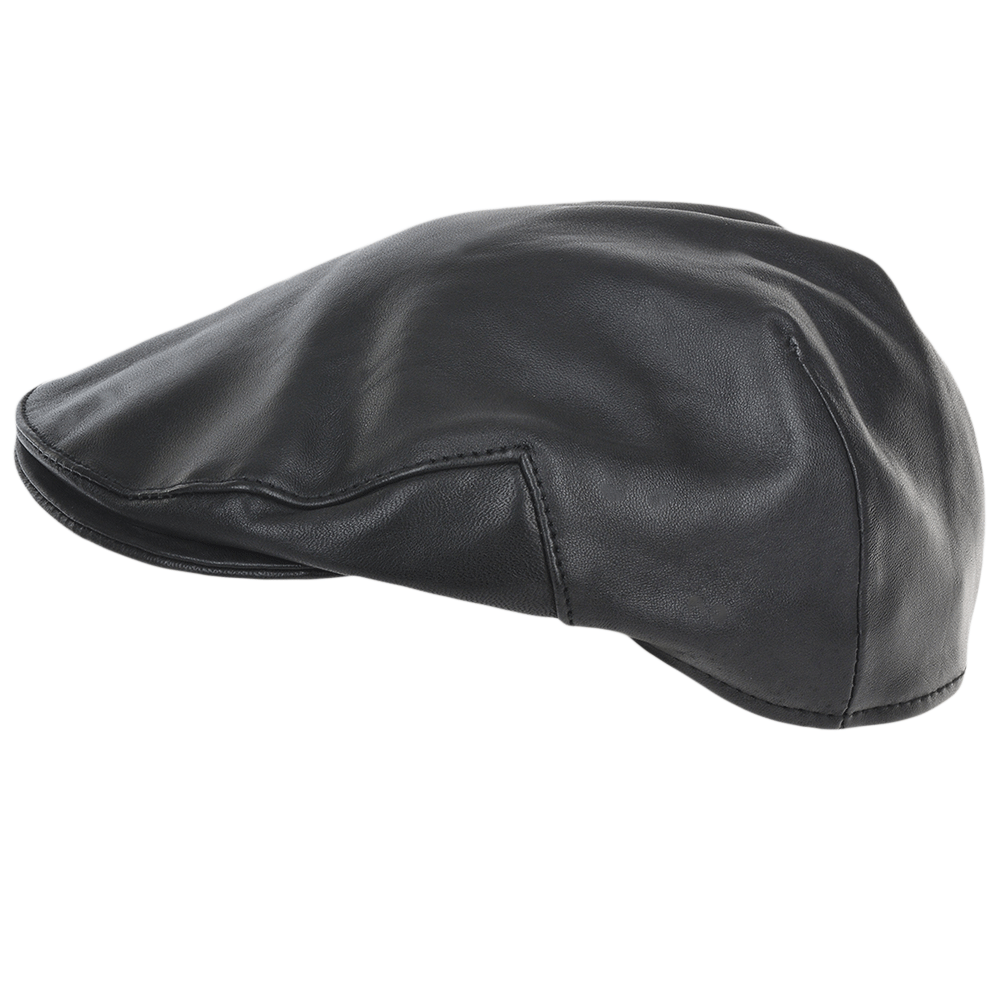 Mens Leather Flat Cap Black: Gatsby